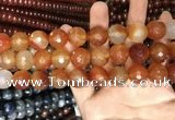 CAA3448 15 inches 16mm faceted round agate beads wholesale