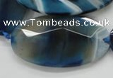 CAA352 15.5 inches 30*60mm faceted oval blue line agate beads