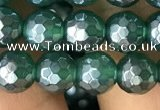 CAA3543 15.5 inches 6mm faceted round AB-color green agate beads
