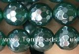 CAA3544 15.5 inches 8mm faceted round AB-color green agate beads