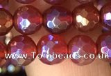 CAA3549 15.5 inches 6mm faceted round AB-color red agate beads