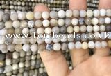 CAA3587 15.5 inches 6mm round matte ocean fossil agate beads