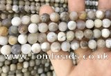 CAA3588 15.5 inches 8mm round matte ocean fossil agate beads
