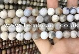 CAA3589 15.5 inches 10mm round matte ocean fossil agate beads