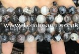 CAA3595 15.5 inches 12mm round black zebra agate beads wholesale
