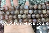 CAA3636 15.5 inches 4mm round flower agate beads wholesale