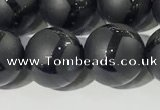 CAA3657 15.5 inches 10mm round matte & carved black agate beads
