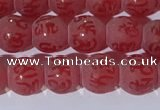 CAA3686 15.5 inches 6mm round matte & carved red agate beads