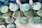 CAA3725 25*35mm - 30*40mm freeform chrysanthemum agate beads
