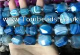CAA3827 13*17mm - 18*22mm faceted nuggets line agate beads