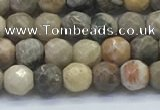 CAA3960 15.5 inches 4mm faceted round chrysanthemum agate beads