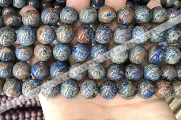 CAA4012 15.5 inches 12mm round blue crazy lace agate beads