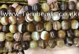 CAA4142 15.5 inches 12mm pumpkin line agate beads wholesale