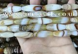 CAA4166 15.5 inches 10*30mm rice line agate beads wholesale