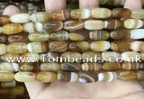 CAA4172 15.5 inches 7*14mm rice line agate beads wholesale