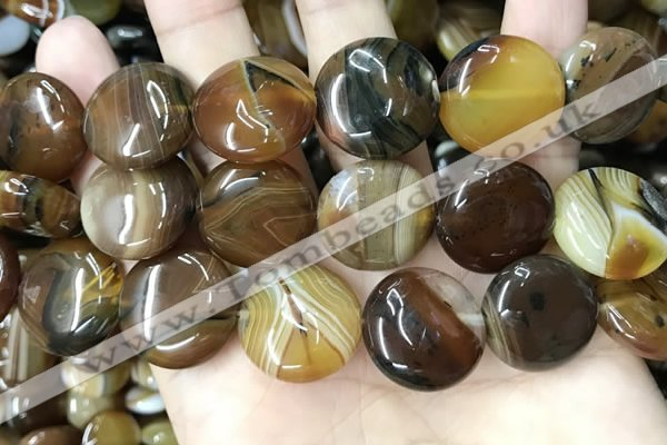 CAA4207 15.5 inches 20mm flat round line agate beads wholesale