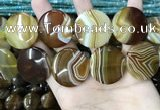 CAA4208 15.5 inches 30mm flat round line agate beads wholesale