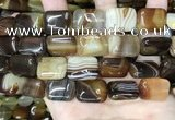 CAA4227 15.5 inches 15*20mm rectangle line agate beads wholesale