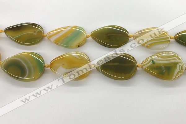 CAA4322 15.5 inches 30*40mm twisted oval line agate beads