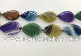 CAA4323 15.5 inches 30*40mm twisted oval line agate beads