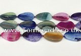 CAA4432 15.5 inches 25*35mm flat teardrop agate druzy geode beads