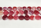 CAA4623 15.5 inches 20mm flat round banded agate beads wholesale