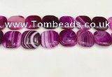 CAA4775 15.5 inches 25*25mm square banded agate beads wholesale