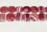 CAA4776 15.5 inches 25*25mm square banded agate beads wholesale