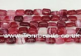 CAA4792 15.5 inches 10*14mm rectangle banded agate beads wholesale