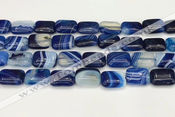 CAA4810 15.5 inches 13*18mm rectangle banded agate beads wholesale