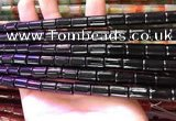 CAA4999 15.5 inches 8*12mm tube black agate beads wholesale