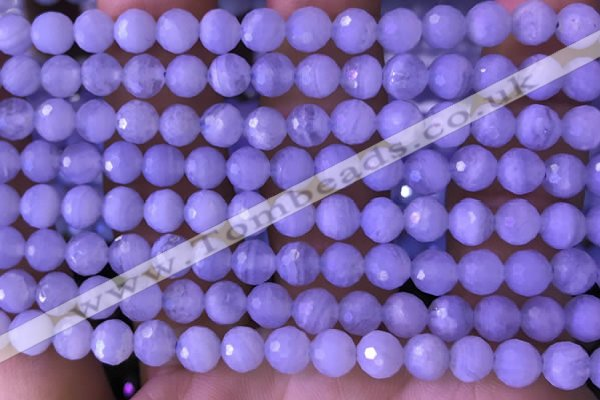 CAA5006 15.5 inches 6mm faceted round blue lace agate beads