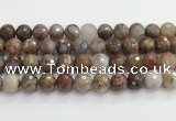CAA5013 15.5 inches 12mm faceted round flower agate beads