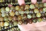 CAA5040 15.5 inches 12mm round yellow dragon veins agate beads
