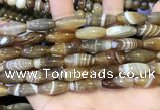 CAA5110 15.5 inches 8*16mm rice striped agate beads wholesale