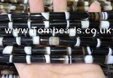 CAA5128 15.5 inches 8*20mm tube striped agate gemstone beads