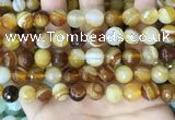 CAA5172 15.5 inches 8mm faceted round banded agate beads