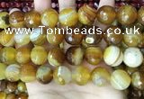 CAA5176 15.5 inches 16mm faceted round banded agate beads