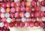 CAA5203 15.5 inches 14mm faceted round banded agate beads