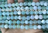 CAA5221 15.5 inches 8mm faceted round banded agate beads