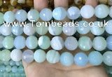 CAA5225 15.5 inches 16mm faceted round banded agate beads