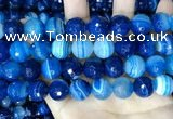 CAA5231 15.5 inches 14mm faceted round banded agate beads