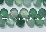 CAA5307 Top drilled 6*8mm flat teardrop line agate beads