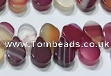 CAA5309 Top drilled 6*8mm flat teardrop line agate beads