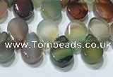 CAA5312 Top drilled 6*8mm flat teardrop line agate beads