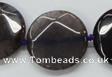 CAA564 15.5 inches 30mm faceted flat round dragon veins agate beads
