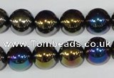 CAA851 15.5 inches 12mm round AB-color black agate beads