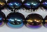 CAA854 15.5 inches 16*20mm egg-shaped AB-color black agate beads