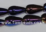 CAA856 15.5 inches 11*20mm teardrop AB-color black agate beads