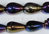 CAA857 15.5 inches 13*20mm teardrop AB-color black agate beads